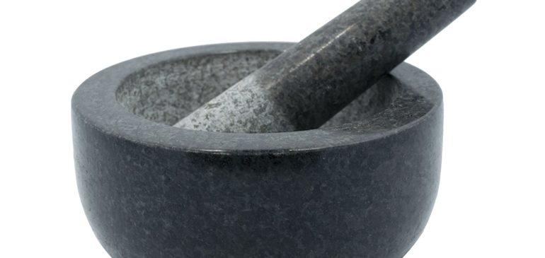 Large Black Granite Mortar & Pestle Natural Stone Grinder