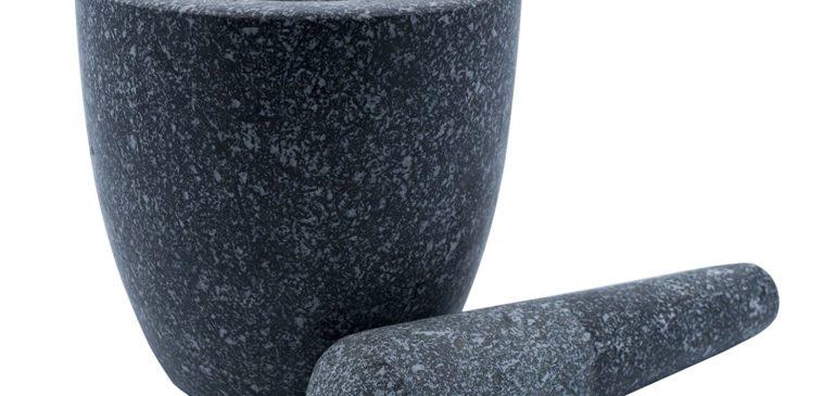 Large Grey Granite Mortar & Pestle Natural Stone Grinder